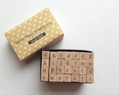 alphabet rubber stamp set. lowercase stamp. wood mounted stamp. japanese. scrapbooking. card making. small. no2