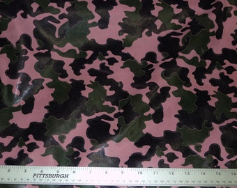 "Leather 6 Pieces 4""x6"" Camo Black and Green on PINK Cowhide 3 oz / 1.2 mm PeggySueAlso"