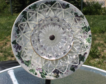 Purple, Green and White Pottery and Glass Garden Flowers / Garden Art
