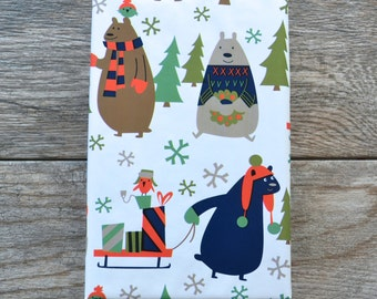 Holiday Bears Winter Christmas Wrapping Paper, 2 Feet x 10 Feet