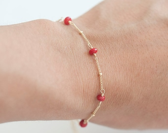Red Coral Bracelet, Delicate Gold Bracelet,  Red Stone Bracelet, March Birthstone Jewelry, Red Stone Jewelry, Mothers Day, Bridesmaid Gift
