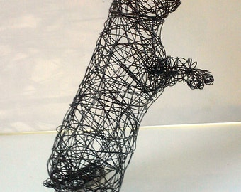 Life Sized Rabbit Sculpture - Unique Wire Animal Sculpture - BEGGING BUNNY