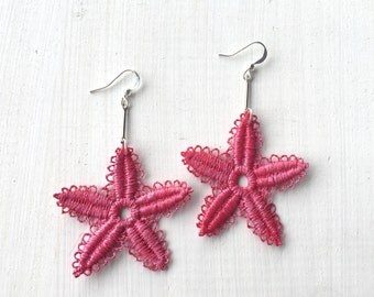 Pink Starfish Lace Earrings