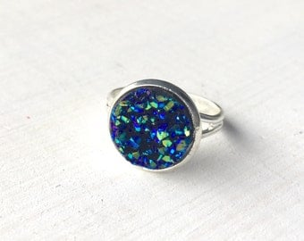 Blue Faux Druzy Resin Silver Statement Ring