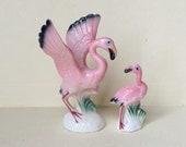Lovely Pink Flamingo Figurine Mini Rare Size Bird Ceramic China Porcelain Vintage Lot of 2