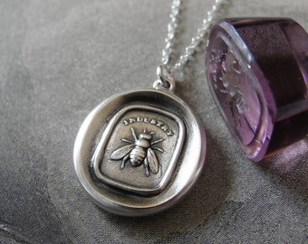 Bee Wax Seal Necklace - antique wax seal charm jewelry with industrious honey bee by RQP Studio