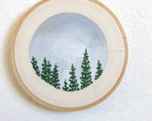 California Redwoods in Winter Small Embroidery Art
