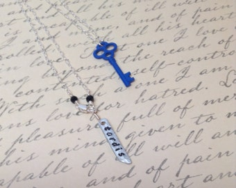 Royal Blue Skeleton Key Charm Necklace, Sterling Silver Chain, Black Quartz Accents, Hand-Stamped Tag, Gift Wrapped