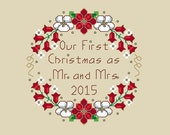 2015 Wedding Christmas Ornament Cross Stitch Pattern Design Our First Christmas Elegant Holiday Seasonal Embroidery Needleart Needlework