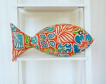 Tropical Fish Pillow - Key West Decor - Hawaiian Pillow - Tiki Bar Decor