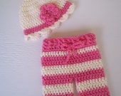 Crochet Newborn Cream and White Beanie with Flower and Matching Striped Longies/Pants Photography Prop