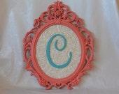 Coral and turquoise framed letter_oval vintage style frame, ivory rosette background, nursery framed letter, custom monogram, nursery decor