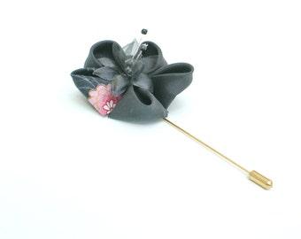Weddings - Mens Button Hole / Boutonniere - Silk and Kimono Print Cotton Kanzashi Flower, Groomsmens Gift Idea - Best Mans Flower