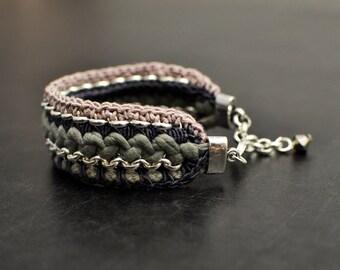 Statement Bracelet, Broad Cuff Bracelet, Grey Bracelet, Crochet Bracelet, Silver Plated, Hippie Bracelet, Bohemian Bracelet