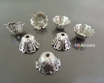 20pcs Silver Bead Caps - Finding Silver Plated Brass Filigree Bead Cap Bead Cones with Hole 11mm  x 6mm