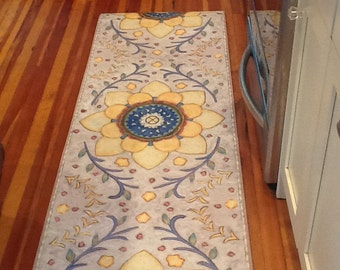 Moonflower Floorcloth Runner