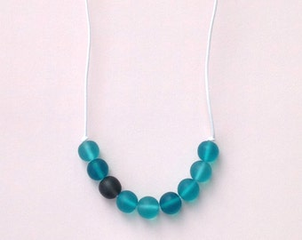 Nursing Necklace - Babywearing Necklace - Boules - Colour Splash - Turquoise/ Aqua and Charcoal Grey