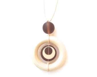 Wooden Teething Necklace/ Nursing Necklace/  - Natural Wood and Resin Breastfeeding Necklace - Brown - Coffee and Cream