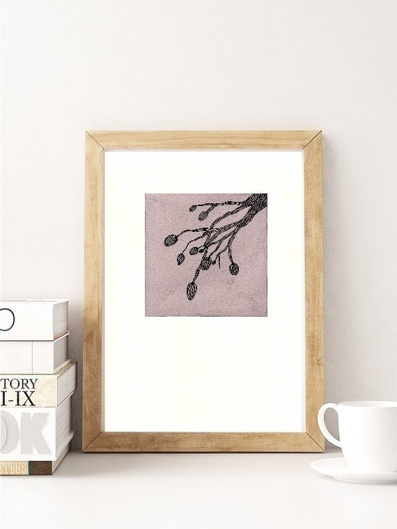 Original watercolor painting, ash grey black, modern illustration, nature tree branch, gift for man