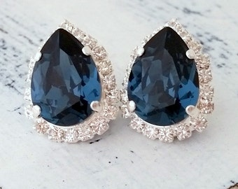 Navy Blue earrings,Navy blue Crystal stud earrings,Navy blue Bridal earrings,Navy blue Bridesmaids gift,Deep blue Studs,Silver or Gold
