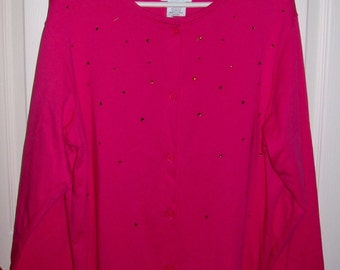 SALE 70% Off Vintage Ladies Pink Knit Tunic Shirt by Quacker Factory Plus Size 1X Now 1.50 USD