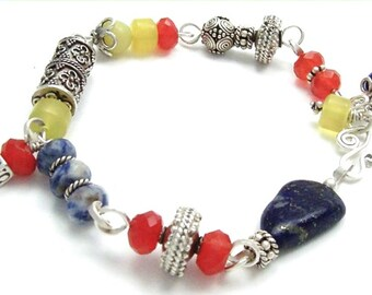 Bali Jewelry Beaded Bracelet Natural Stone Lapis Lazuli Sodalite Olive Jade Sterling Silver Bali Beads Red Blue Yellow Colorful Jewelry
