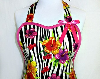 Apron, WILD HIBISCUS, Exotic TROPICALS in Plum & Orange, Beach Couture, Designer Pretty Party Hostess Fun Kitchen Gift