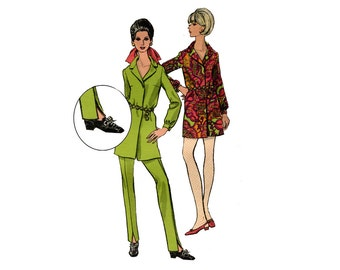 1960s Vogue Shirtdress and Pants Pattern Creased Pencil Pants Mini Shirt Dress Notched Collar Vogue 7293 Bust 34 Vintage Sewing Pattern