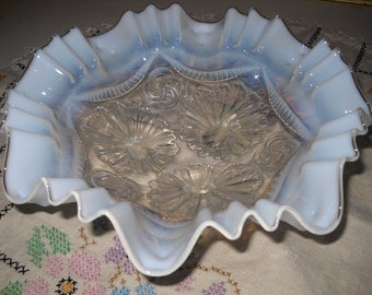 Ruffles & Rings by Dugan, 3 N 1 Opal Edge, Clear Pressed Glass , Footed Bowl, Mother's Day Gift