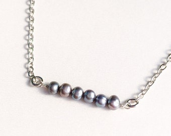 Pearl Bar Necklace June Birthstone Pearl Line Necklace Bridesmaid Necklace Wedding Jewelry Women's Gift