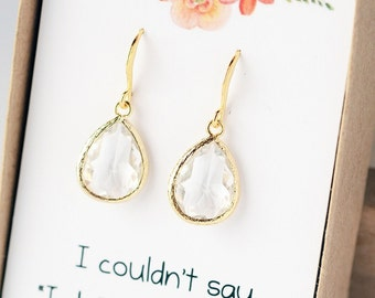 Bridesmaid Gift Crystal Clear Earrings Jewelry Bridal Jewelry Drop Earrings Jewelry Bridal Accessories Bridesmaid Set Limonbijoux