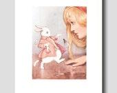 Alice in Wonderland Art -- Vintage Watercolor Print by Margaret Tarrant --  Pink Girls Room Decor No. 27