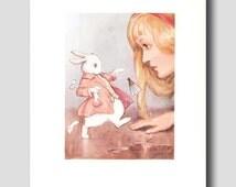 """Alice in Wonderland Decor, Margaret Tarrant Art Print --- """"Startled White Rabbit"""" No. 27"""