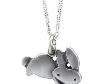 Tiny Bunny Necklace - Small White Bronze Rabbit Pendant on Silver Plated Chain - Bunny Rabbit Charm for Easter