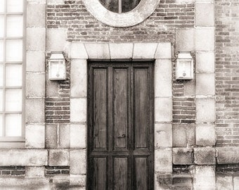 French Door Photo, Architecture Print, Lantern Photograph, Brick Building, French Home Decor, Grey and Cream, Wall Art, Travel Photography