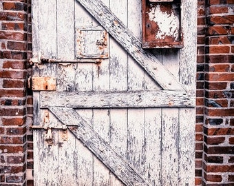 Rustic Door Photo, Still Life Photograph, Weathered Door, Rusty Art, Red and White Decor, Country Gate, Chipped Paint, Country French Photo