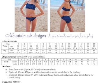 Sports Briefs Bikini pdf sewing pattern in Girls sizes 2-14