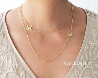 Gold Layered Necklace, Sideway Bird Necklace, Gold Necklace, Gold Bird Necklace, Layered Necklace, Dainty Minimalist Modern Jewelry Gift