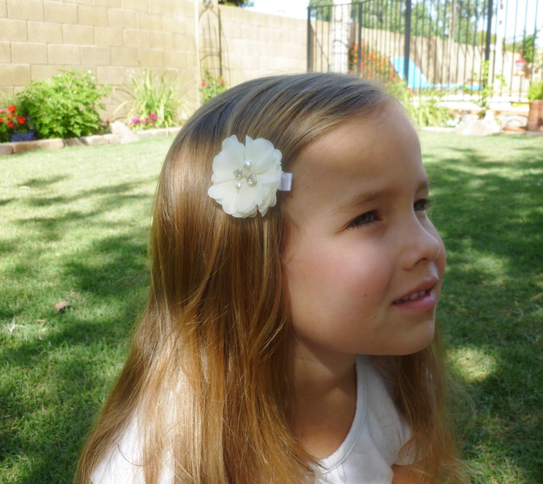 ivory flower girl hair accesories2 inch chiffon wedding