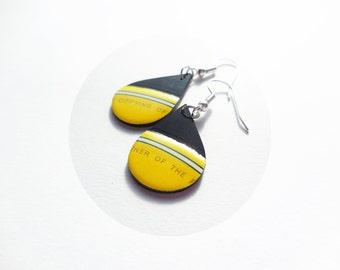 yellow dangle earrings fun earrings drop earrings resin earrings funky jewelry unique jewelry gift for her statement earrings LP vinyl