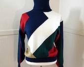 80s Colorblock Turtleneck Sweater / Ski Sweater / Geometric Hipster Pullover Jumper / Medium