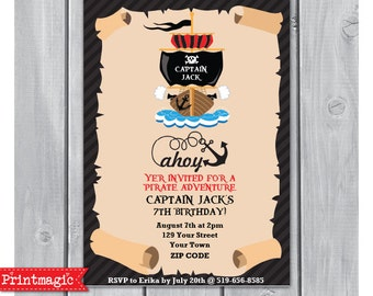 Pirate Birthday Party Invitation - Pirate Invitation - Pirate Ship Invitation - Instant Download - Personalize at home in Adobe Reader