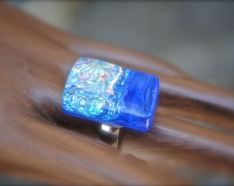 Dichroic Fused Glass Adjustable Ring