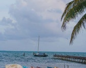 """Travel Photography, """"Boats on the Beach in Belize"""", Water Photo, Belize, Customizable Sizes, Ocean"""