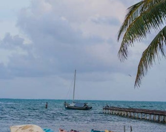 """Travel Photography, """"Boats on the Beach in Belize"""", Water Photo, Belize, Metallic Finish Print, Customizable Sizes Upon Request"""
