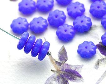Cornflower Blue, Flower beads, czech glass beads, blue floral beads, daisy flower, pressed beads - 9mm - 20Pc - 2170