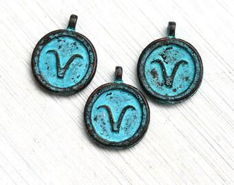 1pc Aries charm, Zodiac charm, Patina on copper, Horoscope, Astrology, Zodiac sign, Greek beads, 15mm, Lead Free - F325