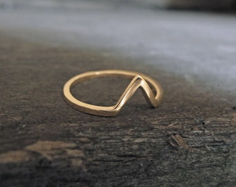 Solid Gold 10K - Small Triangle Chevron Ring - Sustainable Gold - Midi Ring Everyday Stacking Rings Yellow Rose White Gold - Made to order
