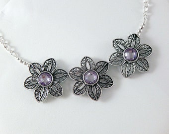 Silver Filigree Flowers with Orchid Purple Crystals - Statement Necklace - Gifts Under 30