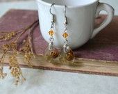Real Ladybug Resin Dangle Earrings with Pressed Solidaster Goldenrod Flowers and Swarovski Crystal